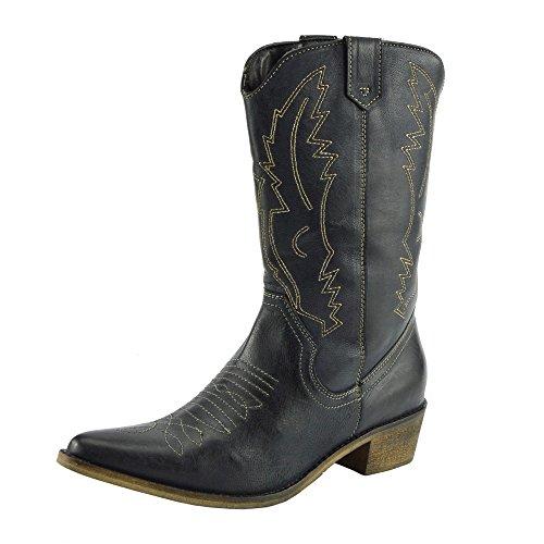Damen Western Leder Cowboy Stiefel Spitz Zehen Damen Breite Kalb Stiefel - UK 8 / EU 41, Schwarz (Schwarze Leder-cowboy-stiefel)