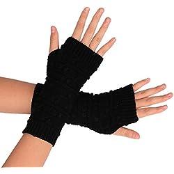 Ularma Brazo suave invierno guantes sin dedos guantes de punto unisex (Talla única, negro)