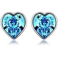 yparah–Orecchini cuore blu–cristallo della casa Swarovski–Donna - Smeraldo Trasparente Anello
