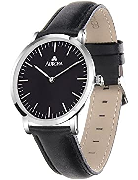 Aurora Damen Casual Business Analog Quarz Schwarz Zifferblatt Armbanduhr mit schwarz Leder band-silver