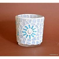 Handgefertigtes Windlicht weiß türkis 7 cm hoch
