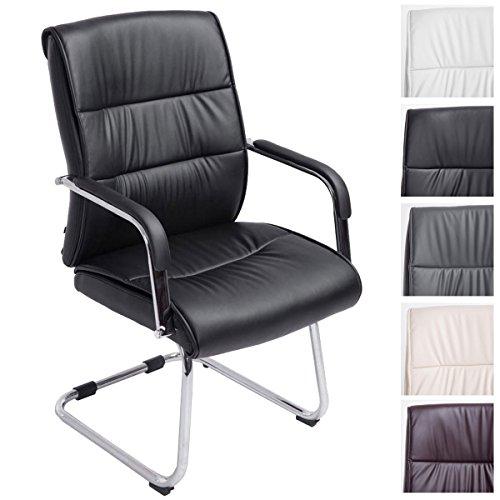 CLP Freischwinger-Stuhl mit Armlehne SIEVERT, Besucherstuhl / Konferenzstuhl mit gepolsterter Sitzfläche, FARBWAHL schwarz