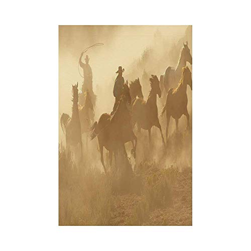Liumiang Eco-Friendly Manual Custom Garden Flag Demonstration Flag Game Flag,Western,Galloping Running Horses in Desert Two Cowboys Roping Dusty Wild Rural Countryside Decorative,Light Brown d¨¦COR Western Quilt