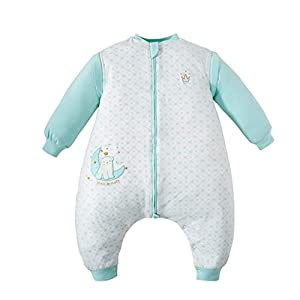 HUYP Saco De Dormir for Bebés Mangas Extraíbles Bebé Pierna Dividida Algodón Anti-Kick Infantil Es Engrosado por Four Seasons Boy Girl (Color : Beige A-Medium Thick, Size : 70 Yards)