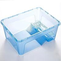Ocamo Caja de alimentación de tortuga de plástico con plataforma desmontable de lavabo, azul, S: 24.5*16.5*11cm