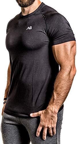 Herren Fitness T-Shirt modal - Männer Kurzarm Shirt für Gym & Training - Passform Slim-Fit, lang mit Rundhals, Schwarz, M