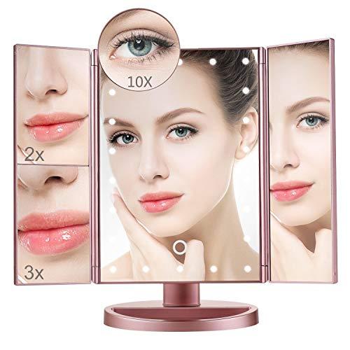 Aibesser Schminkspiegel mit Licht, Kosmetikspiegel beleuchtet, Make-up Spiegel mit 22 LED-Beleuchtung, 1X 2X 3X 10X Vergrößerungsspiegel (Rosa)