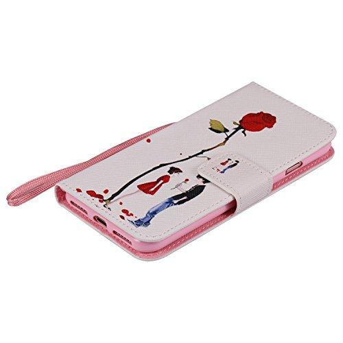 Coque pour Apple iPhone 7 4.7,Housse en cuir pour Apple iPhone 7 4.7,Ecoway Colorful imprimé étui en cuir PU Cuir Flip Magnétique Portefeuille Etui Housse de Protection Coque Étui Case Cover avec Stan Lovers