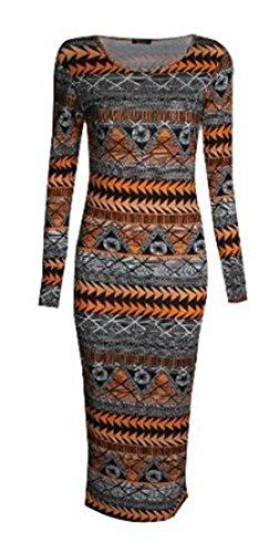 donne janisramone animale vestito bodycon midi manica lunga stampa azteca Aztec Orange