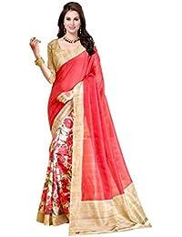 Ishin Bhagalpuri Silk Beige & Pink Printed Fancy Saree