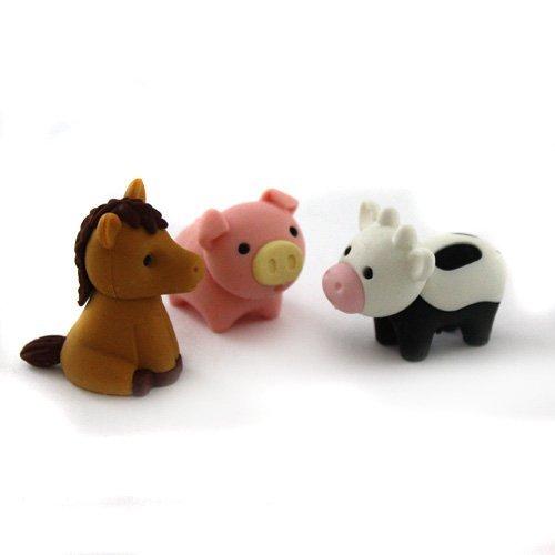Japanische Radiergummi ER-018: Farm (Schweinchen, Kuh, Pferd)