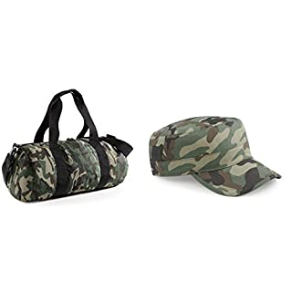 Camouflage Barrel Bag Camo Jungle Military Army Gym Bags Sports Camp + One Free Camouflage Cap