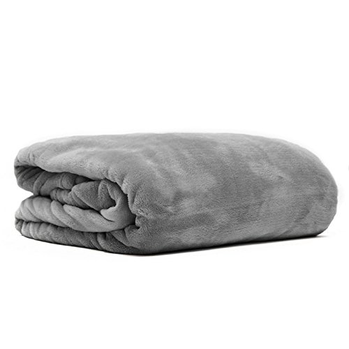 Snug Me Supersoft Kuscheldecke, flauschig weiche XXL Cashmere-Touch Wohndecke 200 x150 cm, hochwertiger 280g/m2 Flannel-Fleece, Microfaser-Decke, Grau / Charcoal Schwere Tagesdecke
