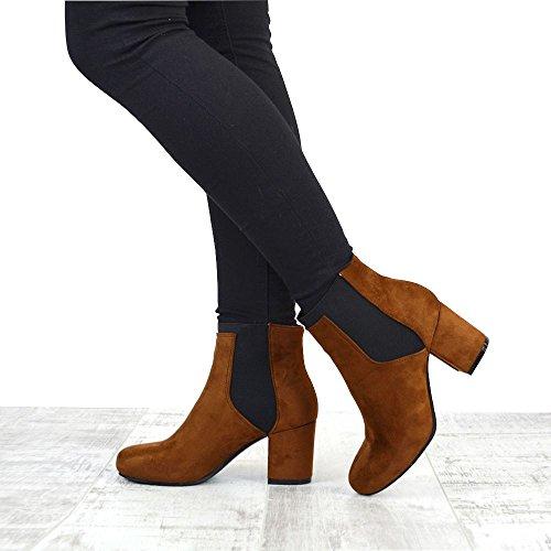 ESSEX GLAM Damen Wildlederimitat Stiefeletten Blockabsatz Chelsea Kurzshaft Schuhe MOCCA FAUX SUEDE