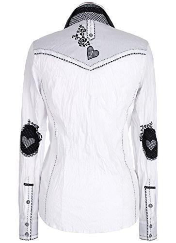 Michaelax-Fashion-Trade - Chemisier - À Fleurs - Manches Longues - Femme Weiß/Schwarz (4132)