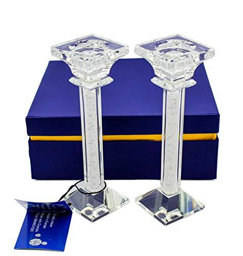 Kerzenhalter - Set mit 2 Kerzenhaltern mit Kristallen von Swarovski - Hochzeitsgeschenk - Jubiläum - Verlobung - Geburtstage