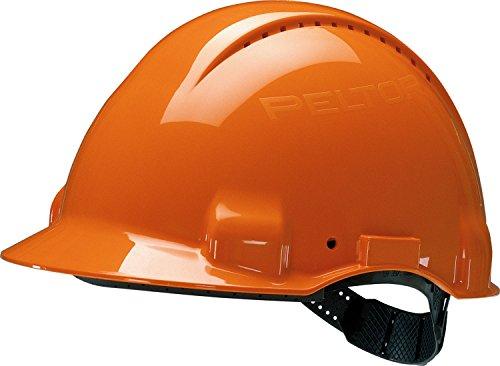 3M G30CUO Peltor Schutzhelm G3000C, ABS, Helm Innenausstattung mit Kunststoff SchWeißband  und Pinnlock Verschluss, belüftet, Orange (Peltor Helm)