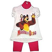 Completo maglia maglietta leggings bimba bambina masha e orso fucsia - 6A