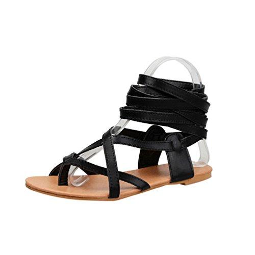 YOUJIA Damen Ausgeschnitten Kniehoch Gladiator Sandalen Flach Schnürschuhe Riemchen Sommerschuhe (#2 Schwarz, EU 38)