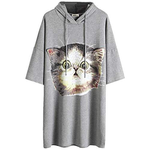O&YQ Mittellanges T-Shirt Weiblicher Kurzärmeliger Koreanischer Lässiger Fauler T-Shirt-Rock mit Kapuze, Grau, s (Bekleidung Fauler)