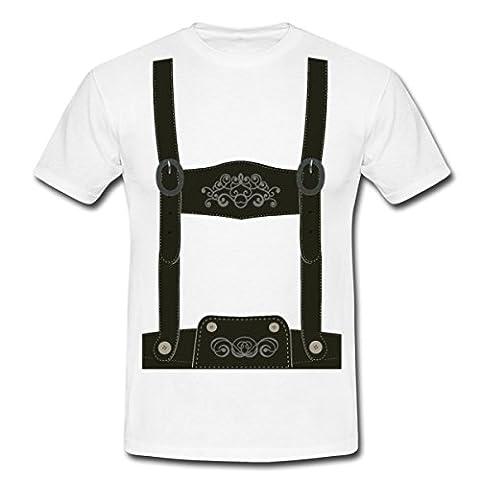 Lederhose Tracht Männer T-Shirt von Spreadshirt®, S, Weiß