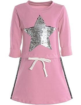 BEZLIT - Vestido - corte imperio - Estrellas - Cuello redondo - Manga Larga - para niña Rosa 4 Años
