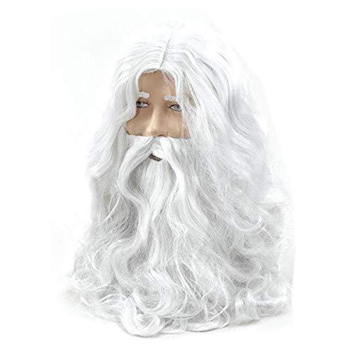 Neujahr Luxus White Santa Kostüm Zauberer und Bart Set Weihnachten Halloween jiajia (Color : - Synthetische Kostüm Bart Und Perücke Set