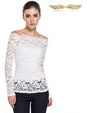 BYD Mujeres Blusas de Encaje Flores Lace Crochet Camisas sin Tirantes Camisetas Manga Larga T shirt Túnica Tops