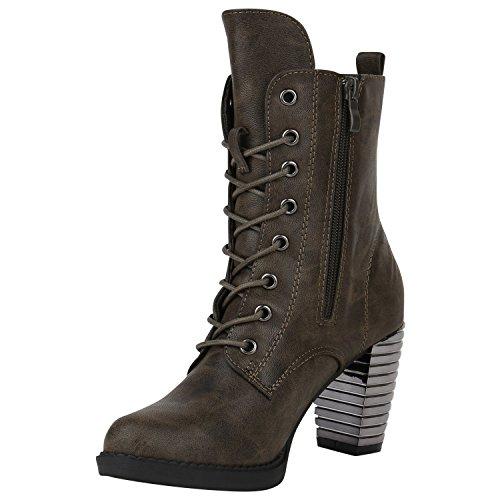 Damen Schnürstiefeletten Gefütterte Winterstiefel Worker Boots Profilsohle Schnürer Winterboots Blockabsatz Schuhe Stiefeletten High Heels Flandell Dunkelgrün Nieten