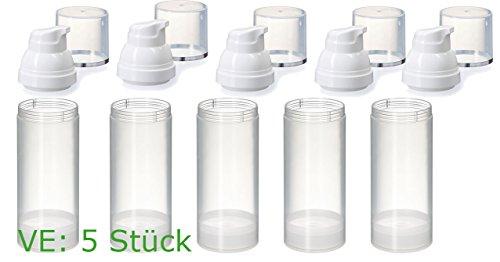 Preisvergleich Produktbild Airless-Dispenser - transparent 50 ml 5 Stück Pumpspender,  Gelspender,  Cremespender,  Lotionspender zum selbst befüllen,  wiederverwendbar