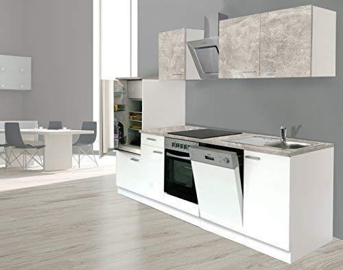 respekta Einbau Küche Küchenzeile Küchenblock 280 cm Weiss Beton Optik, inkl. Softclose Cerankochfeld Geschirrspülmaschine, Kühlschrank