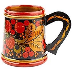 Taza de Cerveza Hecho a mano en Rusia. Vajilla tradicional Vintage Retro. Lacado de madera natural