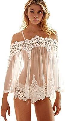 Longra ♥♥Ropa Interior Mujer, Ropa interior Vestido hueco nuevas mujeres del estilo de la ropa interior del cordón de la ropa de noche y tanga