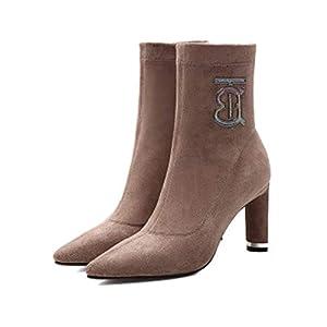 HAOYUSHANGMAO High-Stiefelette, weiblich, Herbst und Winter Elegant Stiletto Spitz Socken, Damen Stretch-Stiefel