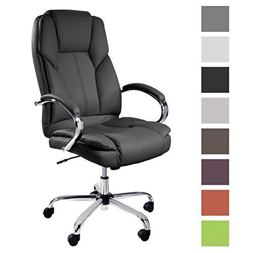 TPFLiving Premium XXL Bürostuhl Chefsessel Schreibtischstuhl DALLAS schwarz belastbar bis 215 kg hochwertig bequem Kunstleder Fixier- und Wippfunktion stabile Castor Rollen in 10 Farben wählbar