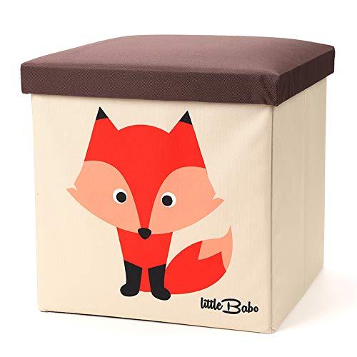 little Babo Faltbare Aufbewahrungsbox Kinder | groß & stabil zum sitzen | Spielzeug-Kiste mit Deckel | Aufbewahrung im Kinderzimmer | Regal-Korb | Storage Box | Aufbewahrungskorb Kinderzimmer | Fuchs (Box Spielzeug Storage)