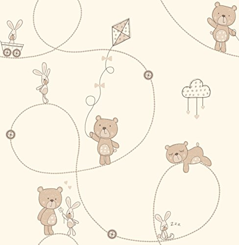 Decorline Carousel Bear and Boo Wallpaper, Natural