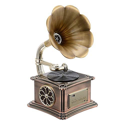 KSW_KKW Retro, Klassische Gramophone Plattenspi Form Stereo-Lautsprecher Sound System Music Box Audio Blue Tooth Aux-in/USB-Flash-Laufwerk