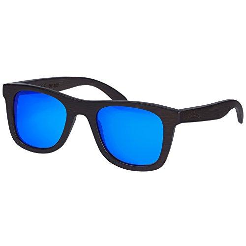 Nebelkind Unisex Bamboobastic Holz Sonnenbrille mit Bambus Etui Dunkelbraun Blau One Size