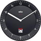 Braun BNC006BKBK Black-DCF Radio Controlled Wall Clock, Plastik, 20 x 3.4 x 20