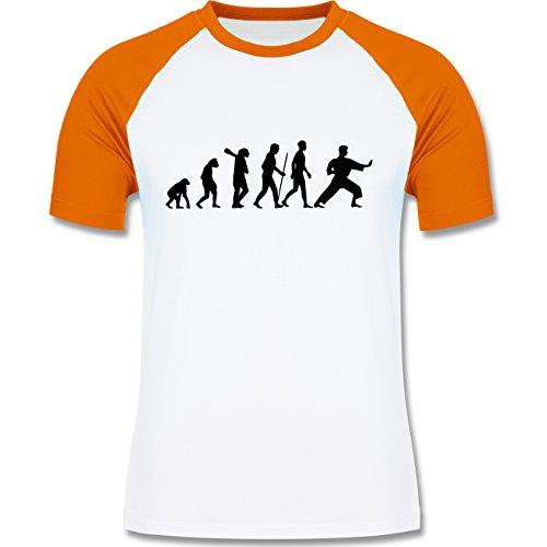 Evolution - Kampfsport Evolution - zweifarbiges Baseballshirt für Männer Weiß/Orange