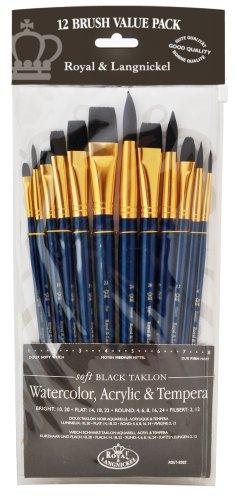 Royal & Langnickel RSET-9302 - Soft Black Taklon 12-teiliges Pinsel Set gemischt