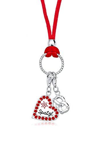 Elli Damen Halskette mit Herz-Anhänger 925 Sterling Silber Emaille Swarovski Kristalle rot Preisvergleich