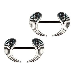 piercing pezon: IPOTCH Pezón de Metal Piercing de Cuerpo Color Plata Joyas de Estiramiento de Se...