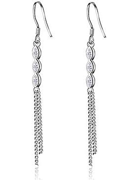 Summens Damen Ohrstecker Lange Absatz süße Ohrringe Ohrhänger Mädchen 925er Sterling Silber Hypoallergen mit 3...