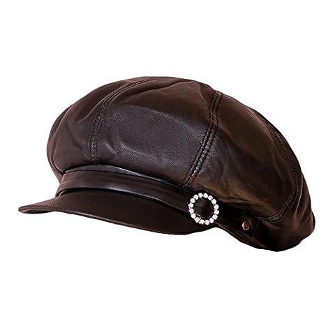 Dazoriginal Damenballonmutze Ballonmütze Baskenmütze Baker Boy Cap Damen Leder mütze