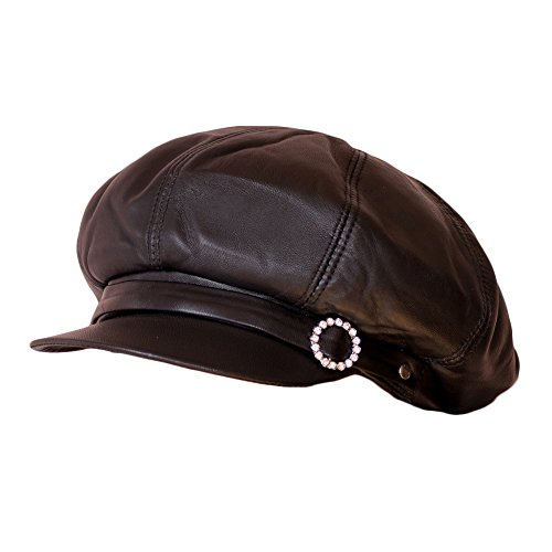 Dazoriginal Womens Big Baker Boy Cap Leather Hat Newsboy Vintage Slouchy Painter