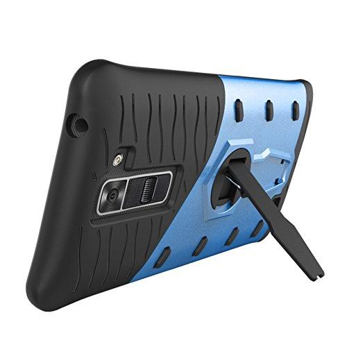 Für LG K7 / K8 American Version Case Tough Hybrid Heavy Duty Schock Proof Defender Cover Dual Layer Armor Combo Mit Swivel Stand Schutzhülle Fall ( Color : Black ) Blue
