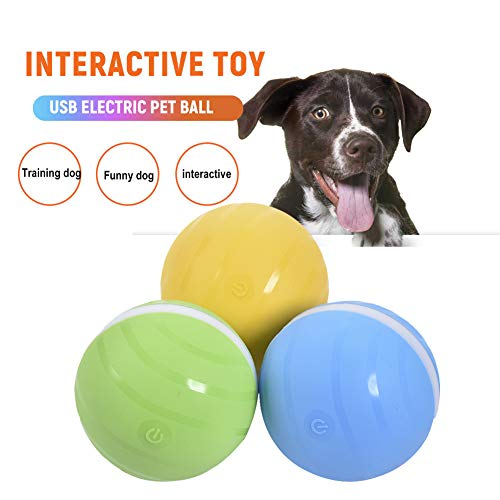 Wicked Ball Pet Toy USB Elektronisches Wackeln Wackeln Crazy Ball Springen Ball LED-Rolling Flash Ball Fun Toy- Die Freude Ihres Haustieres, wenn Sie allein zu Hause sind (Einheitsgröße, Blau-Blue)
