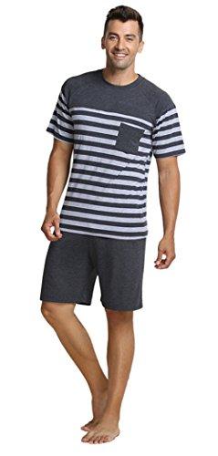 Marster Fashions Baumwolle Herren Zweiteiliger Schlafanzug Anzug Kurz Schlafanzüge (T-shirt Spandex Jersey)